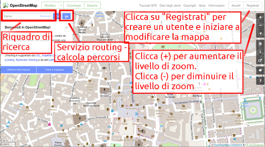OpenStreetMap website with some main functions listed