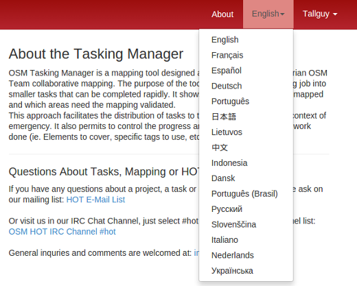 Tasking Manager Languages