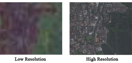 Comparison of low and high resolution imagery