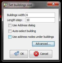Set buildings size dialog