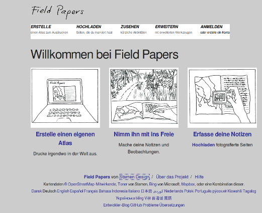 FieldPapers homepage
