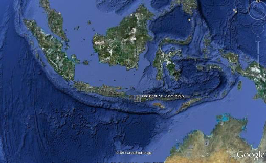 Google Earth software, showing coordinates of Lombok, Indonesia