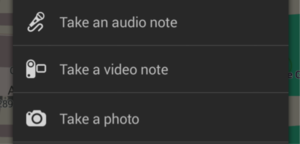 Taking audio, photo or notes